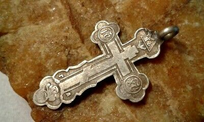 "RARE 19 CENT. 1880s-90s SOLID SILVER ""84"" ORTHODOX ""SKULL"" CROSS ALL-SEEING EYE"