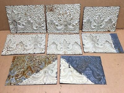 "8pc Craft Lot 6"" by 6""+ Antique Ceiling Tin Metal Reclaimed Salvage Art"