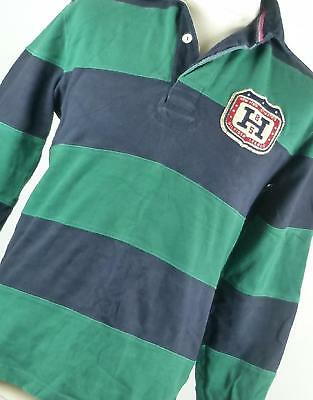 Tommy Hilfiger Green Striped Cotton Mens Rugby Shirt Size S
