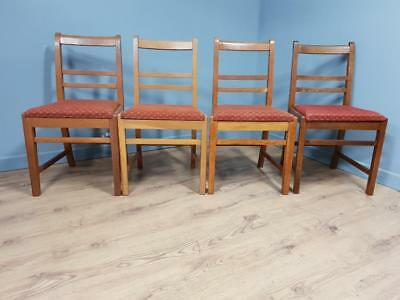 Four Vintage Oak Ladder Back Dining Chairs, Removable Seats