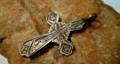 "RARE ANTIQUE 19th CENTURY SOLID SILVER ""84"" ENAMELED RUSSIAN ORTHODOX CROSS"