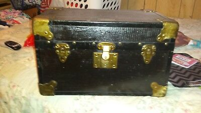 Antique Doll Trunk Salesman Sample Wood Chest Victorian Lined Tray Vintage