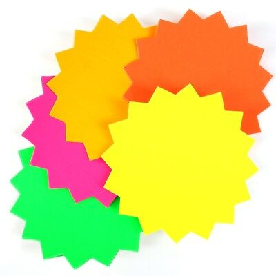 20 PACK LARGE BRIGHT NEON STARS Flash Reminder Label Home Office Wall Shelf Tag