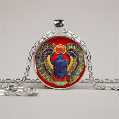 Vintage Egyptian Scarab Photo Cabochon Glass Silver Chain Pendant Necklace