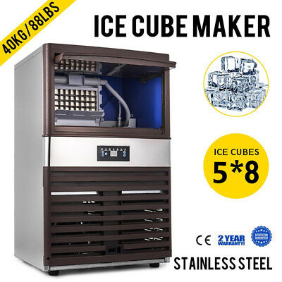 40KG Auto Commercial Ice Cube Maker Machine Business Cafe Refriger Portable 110V