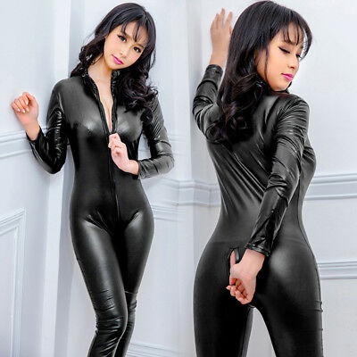 713dec4d2244 Women Sexy Leather Gothic Catsuit Jumpsuit Clubwear Costume Playsuit Zipper  F5K8