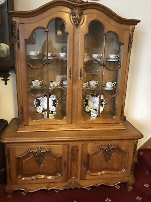 Vintage French Louis XV Oak Carved display cabinet