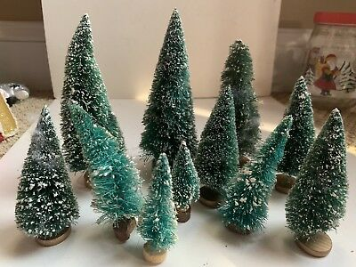 11 Vintage Antique Snowy Small Bottle Brush Christmas Trees Gold Wooden Bases!