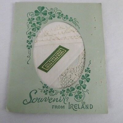 Vintage Linen Lace Handkerchief Souvenir From Ireland Hand Done Original Folder