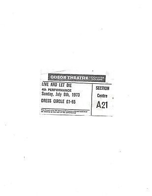 1973 Live and Let Die Odeon Theatre Leicester Square Cinema Ticket 4th showing