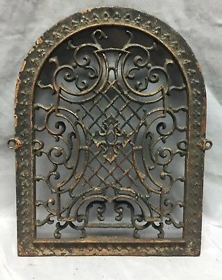 One Antique Arched Top Heat Grate Grill Maltese Cross Gothic Arch 11X15 644-18C