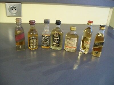 Lot De 7 Mignonnette Mini Bottle Scotch Whisky Pour Collection A Voir