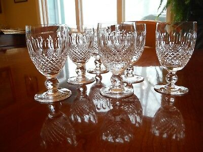 6 Waterford Crystal Colleen Short Stem 4 3/4 Inch Claret Wine Glasses - Mint