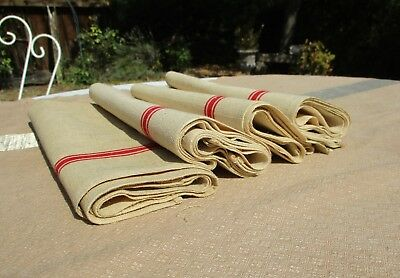 Antique French Rustic Linen Red Stripe Dishclothes Dish Towel Set Of 4 Unwashed