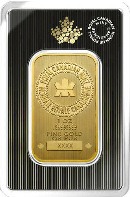 Royal Canadian Mint (RCM) 1 oz .9999 Fine Gold Bar In Assay