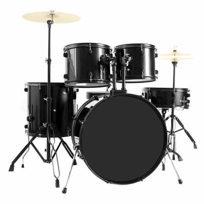 New Quality 5-Piece Full Size Complete Adult Drum Set + Cymbal + Throne Black