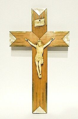 Art Deco Crucifix Inlaid Bronze & Celluloid