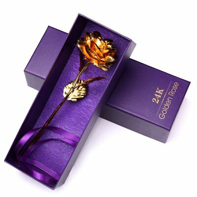 24k Gold Plated Golden Rose Flowers Anniversary Valentine's Day Girlfriend Gifts