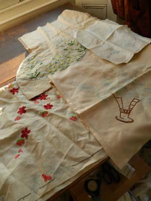 Five vintage linen items with hand embroidery transfer to complete