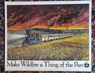 Vintage Smokey Bear US Forest Service Poster Currier & Ives Locomotive Train B
