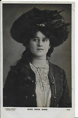 Rare Vintage Greetings Postcard,miss Zena Dare,victorian Actress,rp,1905 (5)