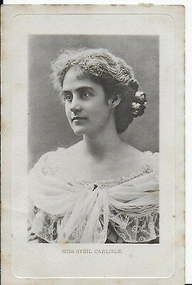 Rare Vintage Greetings Postcard,victorian Actress,miss Sybil Carlisle,1904