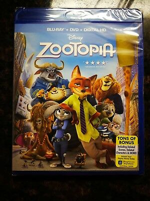 Zootopia Blu-Ray+DVD+Digital HD, authentic with Digital HD and Movie Reward Code