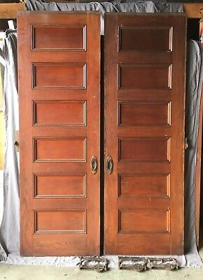 Antique Tall Pair 90x30 6 Panel Oak  Pocket Doors Old Vtg Hardware 630-18E