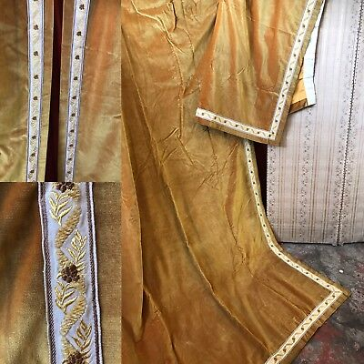 """Vintage French Gold Cotton Velvet Faded Grandeur Curtains Ideal Projects 51""""/95"""""""