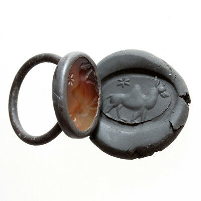 Intact Bactrian Bronze Seal Ring With Nice Glass Stone