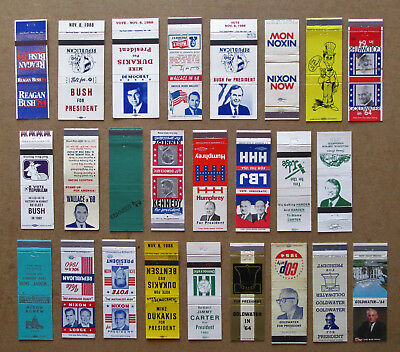 25 Diff Major U.s. Presidential Candidates- Winners & Losers Matchcovers