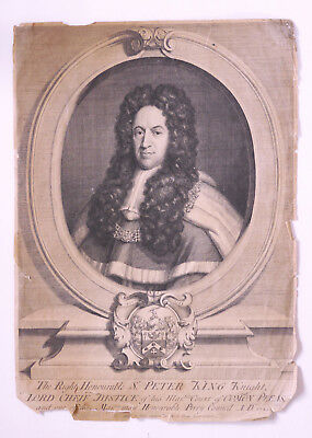 Antq 1724 portrait engraving Sir Peter King, chief justice, privy council London