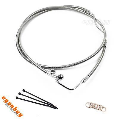 """12"""" Silver Motorcycle Brake Line Cable Kit For 08-13 Harley Touring FLHT FLHR"""
