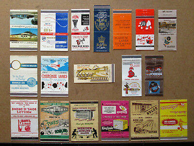 18 Diff Bowling, Alleys, Themed Unstruck Matchcovers