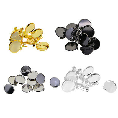 20mm Brooch Base Pin Pin-Back Button Parts Pin Disk Base Pad 10 Pieces Brass