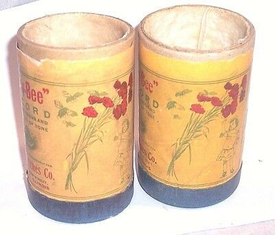 2 Busy Bee Cylinder Phonograph Containers(No Records)