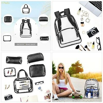 Clear Backpack Include 5 Cosmetic Makeup Bags for Women and Men Transparent PVC
