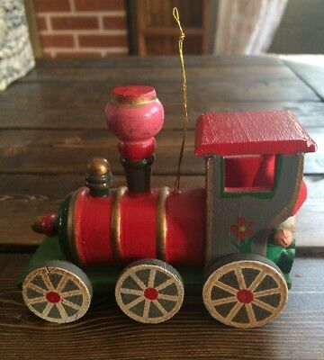 Vintage Wooden Locomotive Train with Elf Rider Christmas Ornament - Taiwan