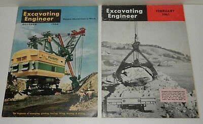 1961 1962 FEB OCT ExCAVATING ENGINEER BUCYRUS ERIE FACTORY MAGAZINES