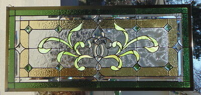 Stained Glass Transom window hanging  37 1/2 X 17 POLISHED BRASS Frame