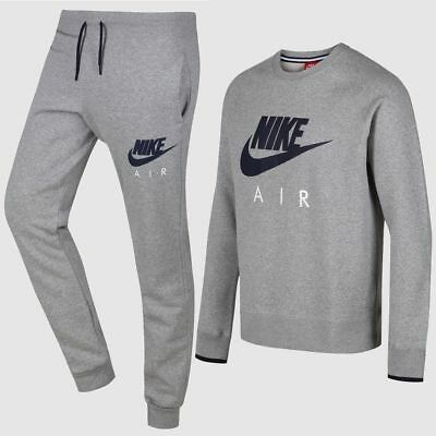 New Mens Nike Crew Neck Fleece Grey Tracksuit Jumper Sweatshirt Joggers Pants