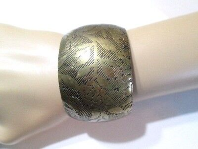 Copper Mixed Metal Brass Deeply Etched Cuff Tribal Style Vintage Very Wide Gypsy
