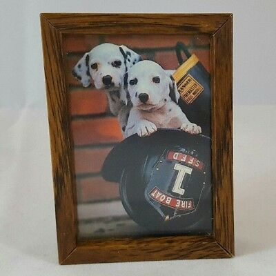 Dalmatian Puppies in Fire Helmet Ron Kimball Small Framed Print 1982 Firefighter