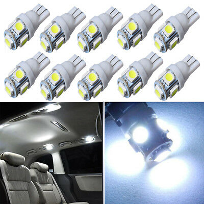 10X White T10 W5W 5SMD 194 LED Interior License Plate Light Map Dome Lamp Bulbs