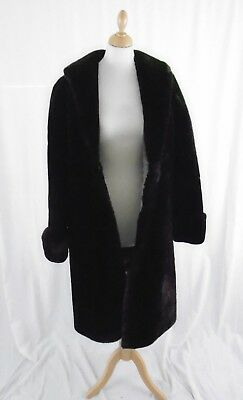 Ladies Vintage Real Fur Size M/L Dark Brown Coat With Side Pockets