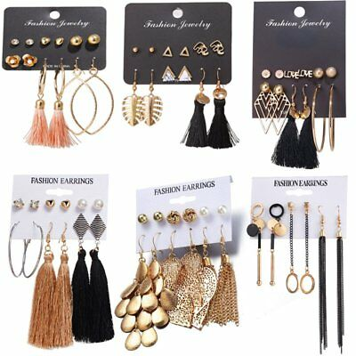 Chic 6Pairs Women Korean Style Earrings Set Tassel Crystal Ear Stud Dangle Hook
