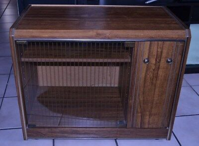 Vintage RECORD LP CABINET mid century modern storage wood stereo console table