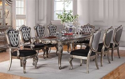 New 7Pc Chantelle Formal French Antiqued Platinum Silver Wood Dining Table Set
