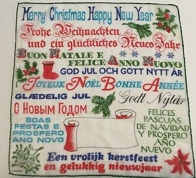 Vintage Christmas Hankie Merry Christmas & Happy New Years Kreier