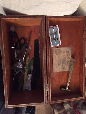 Antique Barber Shop Box Full Gillette Razor Horse Hair Neck Brush
